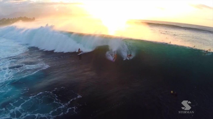 Pipeline - drone shooting in winter surf
