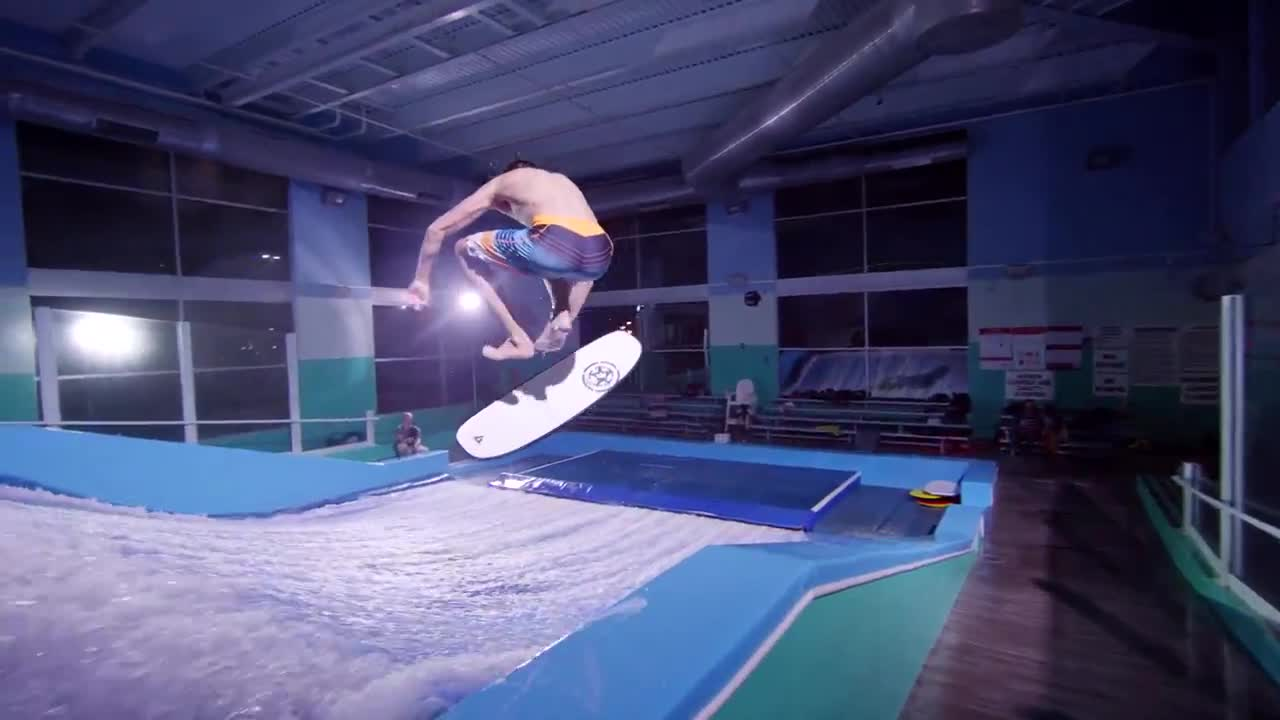 skate surfing Flow Riding in 4K with Devin Graham indoor video